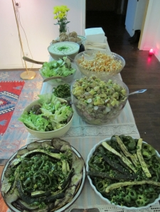Our buffet: roasted vegetables with gremolata & various salads