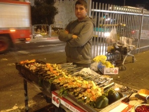 Shish Kebab at Damascus Gate, the Arab quarter of Jerusalem.